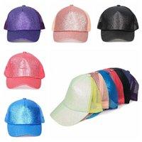 Sequins Beyzbol Şapka Açık Yaz Güneş kremi Glitter Snapback Işıltılı Mesh at kuyruğu Cap Parti Şapkası 5colors 50pcs T1I2082 Caps