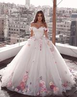 دبي خارج على الكتف الأميرة ألف خط فساتين زفاف 2020 فساتين خطوبة اليدوية 3D الزهور تول العربية العرائس فساتين زائد الحجم