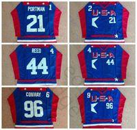 Lucks Mighty D2 Team D2 Team USA Hockey Jerseys 21 Dean Portman 44 Fulton Reed 96 Charlie Conway Jersey قميص أزرق مخيط
