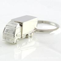 200pcs refroidissent Creative Fashion Container Camion porte-clés en métal Anneau porte-clés Porte-clés Bague en argent Cadeaux drôles Promotion Fête de mariage RRA2566