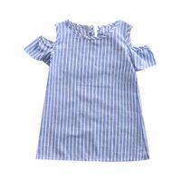 Pudcoco Kleinkind-Kind-Baby-Mädchen-Kleid-Sommer-Loch-Hülsen-gestreifte Kleider Freizeitkleidung Kinder Outfits Ein Stück Kleidung 2-7Y