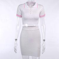 Duas peças vestido de tricô fashion fashion mulheres conjuntos de manga curta casual bodycon outfits botão Crop top e saia conjunto de co-ord