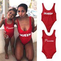 Kadın Kızlar Aile Eşleşen Mayo Çocuklar Bebek Kız Kolsuz Bodysuit Prenses Kraliçe Tek parça Mayo Banyo Beachwear