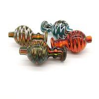 도매 인기있는 다채로운 유리 버블 캡 26mmOD 유리 카펫 모자 평면 탑 석영 Banger 손톱 유리 워터 봉지 파이프 DAB Rigs에 대한