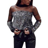 Feitong Moda Kadınlar Seksi Pullu Hollow Perspektif Mesh O-Boyun Bluz Gömlek Bluzlar Kadınlar Giyim Tops