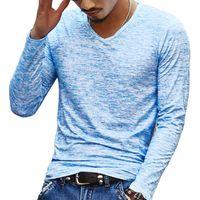 Bahar Erkekler Temel T Shirt Uzun Kol İnce Casual Erkekler Stretch Kazak Tee Chemise Homme Marka Giyim Best Tops