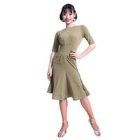 Moda Katı Renk Yarım kollu Modren Kadınlar için Seksi Latin Dans Tek parça Elbise kadın Balo Salonu Kostümleri Flamengo M3239 giyer
