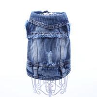 Dog Jeans Veste Nouveau mignon visage Blue Coat Denim Vest vêtements pour animaux Puppy Apparel 6 tailles disponibles