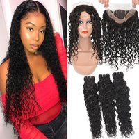 Brazilian Water Wave Virgin Hair 3 Bundles With 360 Full Lac...