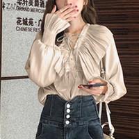여성 블라우스 셔츠 2021 봄 단단한 러프 Zanzea 우아한 V 넥 작업 블라우스 패션 여성 레이스 업 긴 소매 튜닉 탑스 블루스 체