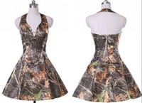 짧은 카모 신부 들러리 파티 드레스 홀터 오픈 라인 맞춤 컨트리 스타일 웨딩 게스트 핀 공식 파티 드레스 TD1905
