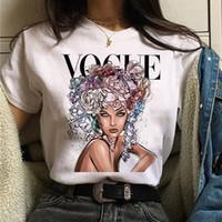 보그 공주 T 셔츠 미용 여성 패션 여자 90 년대 t- 셔츠 하라주쿠 인쇄 그래픽 여름 티셔츠 탑 티 여성