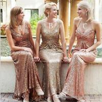 Bling Rose Gold Wedding Diving Dresses Dridesmaid Dress V-Neck Aberto Back Back Back Praça Ruched Festa Dress Menina Mulheres Sexy Wedding Dress Feito
