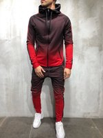 Erkek Eşofman 3D Degrade Baskı Fermuar Nedensel Spor Erkek eşofman Kas Kardeşler erkek Sportwear 2 adet Giyim Setleri Pantalones Kıyafetler