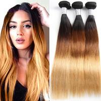 Tissu droites Bundles de cheveux vierges brésiliens Ombre 1B 4 27 Couleur blonde / blonde Remy Indian Weave