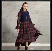 Retro elbiseler 2 adet ekose baskı Sonbahar moda stil kadın giyim Yay rahat Giyim Bayan kış tasarımcı
