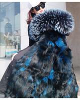 Doublure de fourrure de renard arctique amovible et grand collier Meilleur vente de fourrures d'hiver froides longues manteau de longue durée Suède kvinnors Dunjacka