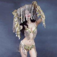 Etapa Festival de las mujeres del equipo del traje atractivo de la borla del bikini de lentejuelas sombrero cantante Pole Dance ropa de fiesta Rave Discoteca DN5578 desgaste