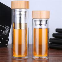 350мл / 450мл Bamboo крышка двойными стенками из стекла чай стакан. Включает в себя фильтр и заварки корзины оптовой LX0121