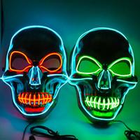 crâne deux couleurs masque clignotant Halloween horreur fête de Noël effrayant masque créatif de lumière froide LED peut être personnalisée