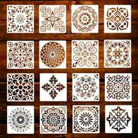 16-Pack (6x6 polegadas) Pintura Desenho Stencils Mandala modelo de conjunto de pedras do chão parede Tile Tecido Lenha DIY