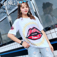 QING MO Donna Big Sexy Lip Sequin T Shirt Donna Bianco O Neck T Shirt manica corta stile casual Top ZQY214