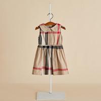 2019 vestidos de las muchachas del verano del algodón niños de la princesa a cuadros ropa de los niños del vestido del diseñador de moda las niñas muñeca de la solapa del chaleco plisado vestido F6976