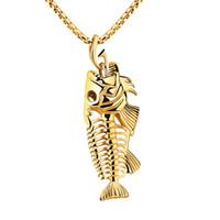 Рыбья кость ожерелье скелет кулон титана стальная цепь 23,62 дюйма мужской длинный участок