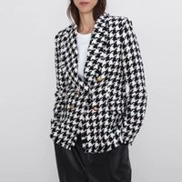 Autumn Vintage manica lunga plaid Blazer Giacche Donna Doppio Petto pied de poule Tweed vestito casual Office Lady Outwears Tops