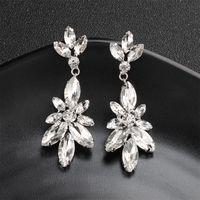 Neueste Mode Frauen Lange Ohrringe Silber Klar Österreichischen Kristall Blume Baumeln Ohrringe Hochzeit Braut Schmuck JCC059