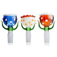 14mm erkek kase adet katı çiçek cam 14.4 tırnak sigara aksesuarları için cam bongs ve su boruları rastgele renk 2 parça paketlenmiş