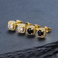 Boucles d'oreilles Hip Hop Hook Boucles d'oreilles Bijoux Haute Qualité Fashion Rond Or Argent Black Diamond Boucle d'oreille pour hommes