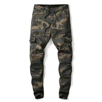 Yeni Erkekler Kamuflaj Yeşil Ordu Jeans Slim Fit Çoklu Cep Tasarımcı Denim Pantolon İçin Erkek Elastik Pist Jeans
