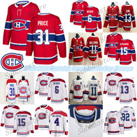 Montréal chandail des Canadiens 6 Shea Weber 31 Carey Price 11 Brendan Gallagher 13 Max Domi Hockey sur glace Maillots