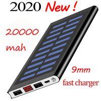 20000mAh Portable Solar Power Bank Batterieladegerät mit LCD-Bildschirm-Camping-Taschenlampe ultradünne Strombanken
