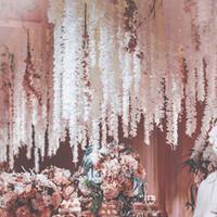 파티 웨딩 천장 장식 가짜 화환에 대한 100CM 인공 벚꽃 덩굴 실크 꽃 사쿠라 DIY 파티 아이비 아치 decoF