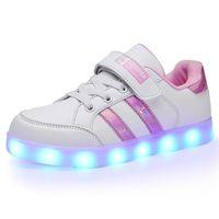 RISRICH дети загораются обувь с подсветкой для светящегося малыша мальчиков девочек chirlden по USB зарядка светящиеся кроссовки Детские розовые туфли