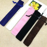 Velvet Pen Bolsa porta-lápis único saco cor sólida com cordão Pen caso presente saco de escola Office Home Armazenamento Produtos de papelaria BH2525 CY