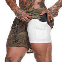 Bolsillos de los hombres 2 en 1 Pantalones cortos para correr Seguridad cortocircuitos del ocio de secado rápido pantalones cortos deportes de Encastrables Bolsillos caderas Hiden cremallera Bolsillos M-4XL