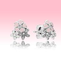Розовая маргаритка гвоздики серьги мода женщины подарочные украшения с оригинальной коробкой для пндоры 925 стерлинговые серебряные серебряные серебряные