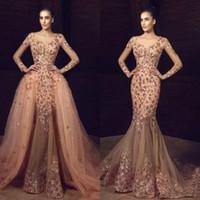 2020 Nova Sereia Vintage Vestidos de Noite com Overskirt mangas compridas Flor Bordado Bordado Vestidos de noite Plus Size formal Prom Vestido 712