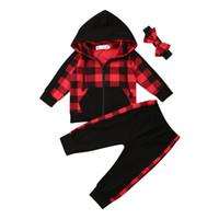 Pudcoco Newborn bambino del capretto vestiti della ragazza di inverno di autunno 3pcs Plaid Hooded Tops Pantaloni Coat fascia calda Abiti Set 9M-3Y