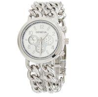 Новое прибытие Женева сплава ремень из нержавеющей стали большой циферблат дамы двойной цепи браслет часы