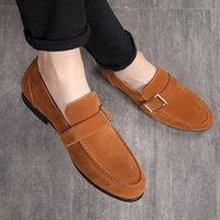 Zapatos de vestir de moda Hombres de cuero Classic Suede Masculino Boda Business Party Office Mocasines de oficina Desviador de hombres