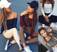 Moda Kadınlar İnce Kapalı Omuz Gömlek Mahsul Uzun Kollu Bluz Triko Tops