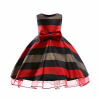 1 pcs Bébé Filles Grand Bowknot Princesse Robe De Mode 2019 Enfants Une-Pièce À Rayures Complète Robes De Fête De Danse Enfants boutique
