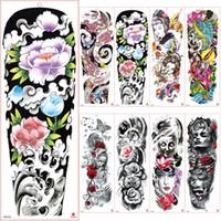 Tatouage à manches longues imperméable autocollant de tatouage temporaire Camellia vagues papillon hommes pleine fleur Tatoo Body Art fille de tatouage