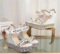 Hot Sale-Femmes Luxe Cataclou Cork Wedge Bas Rouge Sandales Designer Sandales Sexy Girls Talons Party Chaussures de mariage avec la boîte US 35-41