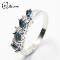 Elegant sapphire silver ring 4 pcs 2 mm * 4 mm natural SI gr...