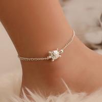 Turtle Frauen-Verbindungs-Ketten-Fußkettchen Armband barfüßigsandelholze für Mädchen / Damen (Silber)